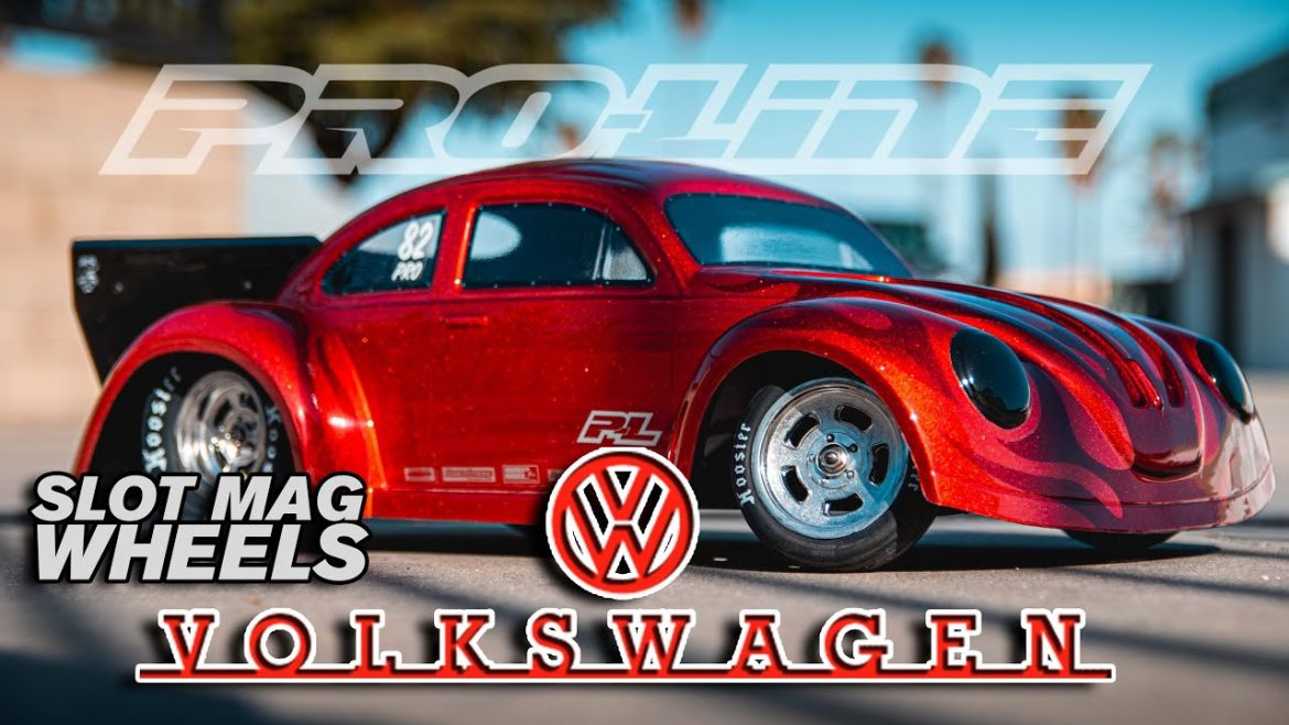 Pro-Line Volkswagen Drag Bug Clear Body and Slot Mag Drag Spec Wheels